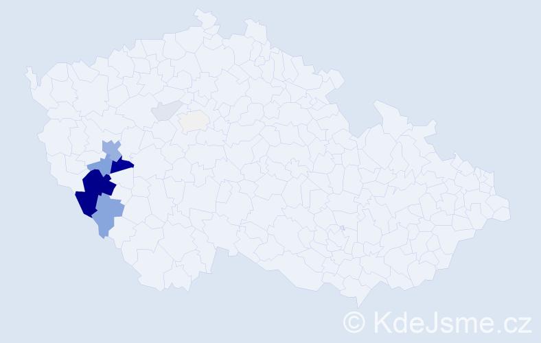 Příjmení: 'Lajpoldová', počet výskytů 36 v celé ČR