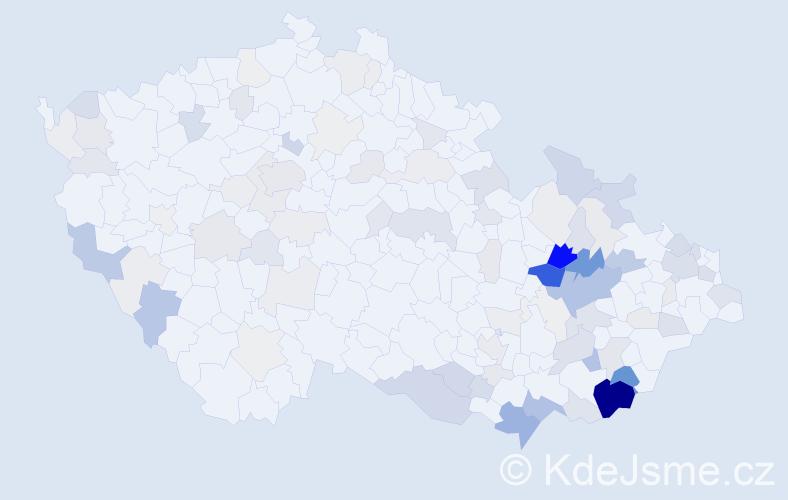 Příjmení: 'Gazdík', počet výskytů 331 v celé ČR
