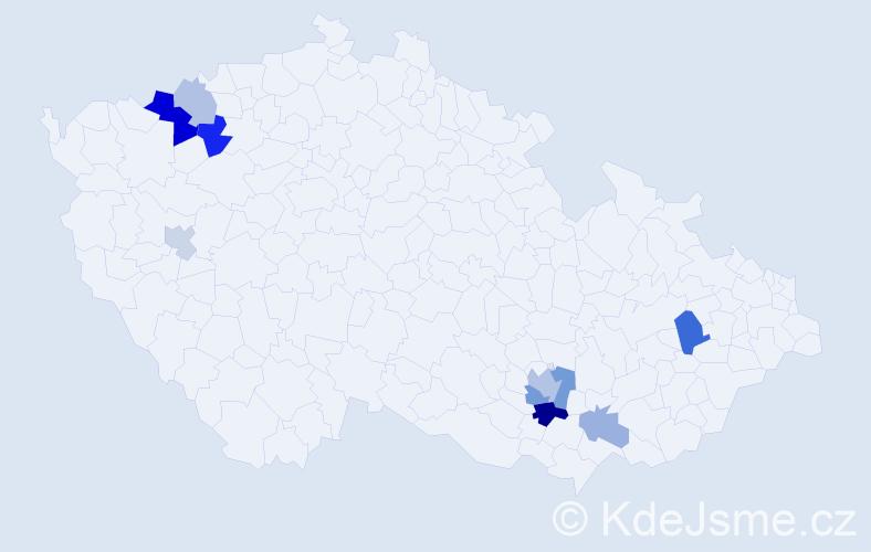 Příjmení: 'Bachorec', počet výskytů 19 v celé ČR