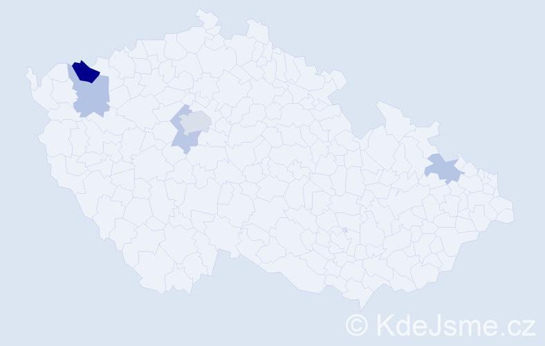 Příjmení: 'Halaburt', počet výskytů 9 v celé ČR