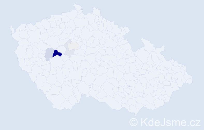 Příjmení: 'Erazím', počet výskytů 13 v celé ČR