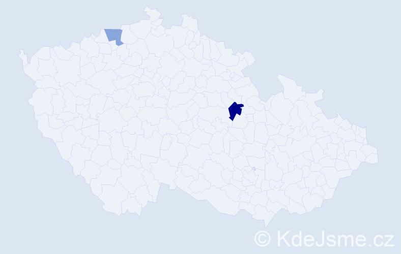 Příjmení: 'Kalioglou', počet výskytů 8 v celé ČR