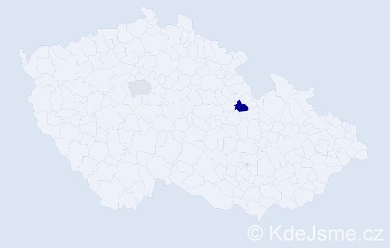 Příjmení: 'Chlpošová', počet výskytů 2 v celé ČR