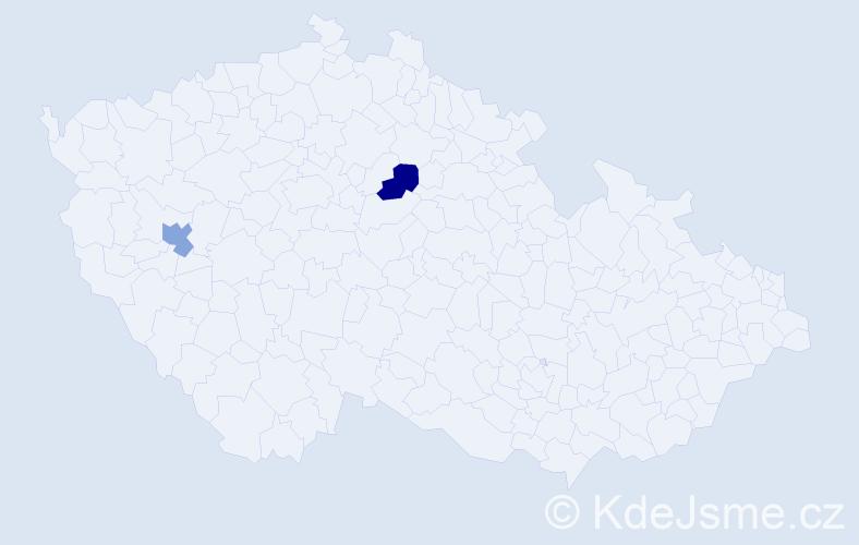 Příjmení: 'Joukhadarová', počet výskytů 2 v celé ČR