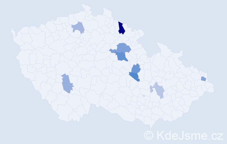 Příjmení: 'Grigel', počet výskytů 17 v celé ČR