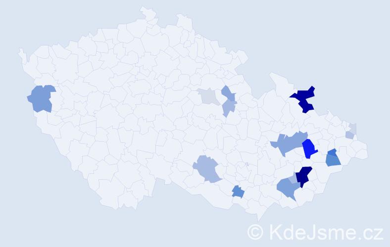 Příjmení: 'Klívar', počet výskytů 55 v celé ČR