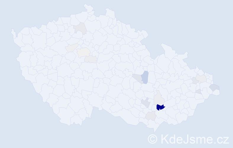 Příjmení: 'Bodečková', počet výskytů 58 v celé ČR