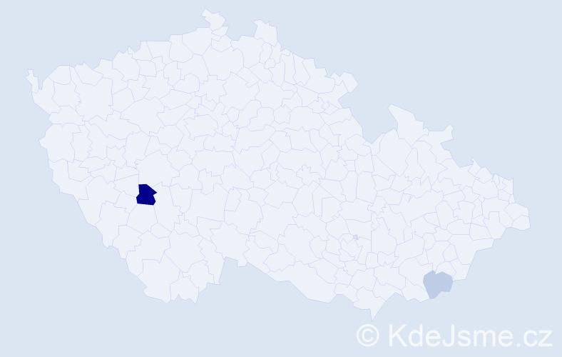 Příjmení: 'Horvay', počet výskytů 7 v celé ČR