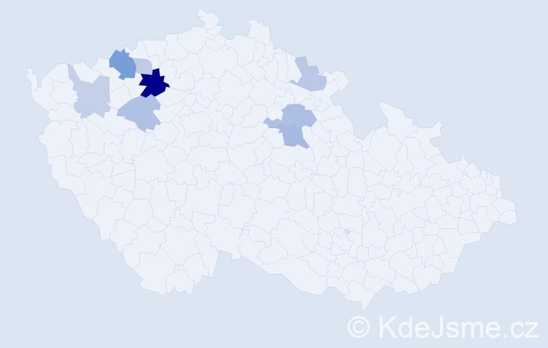 Příjmení: 'Čimpera', počet výskytů 17 v celé ČR