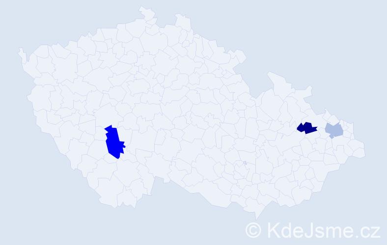 Příjmení: 'Klevcová', počet výskytů 6 v celé ČR