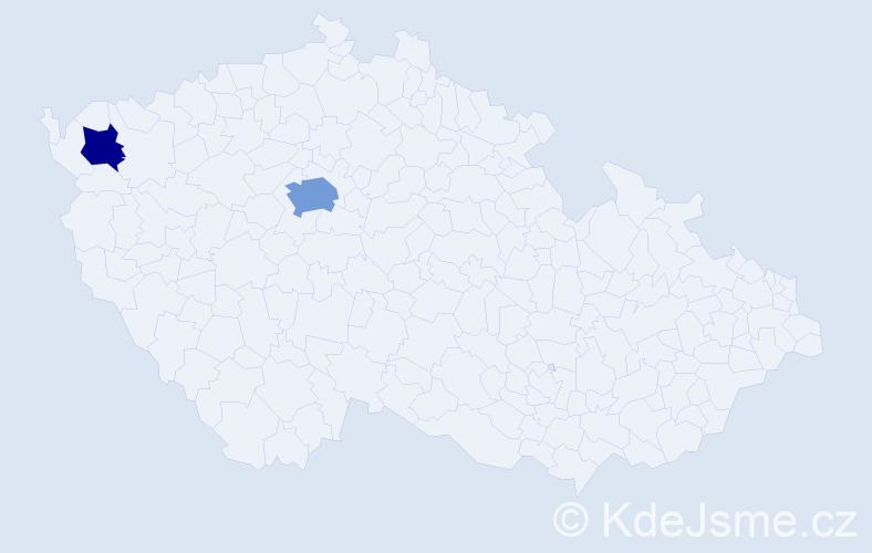 Příjmení: 'Cam', počet výskytů 4 v celé ČR