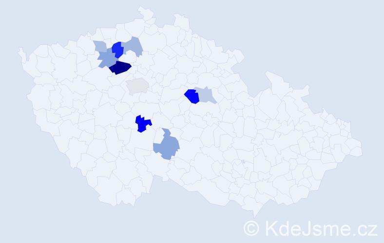 Příjmení: 'Havlovec', počet výskytů 16 v celé ČR