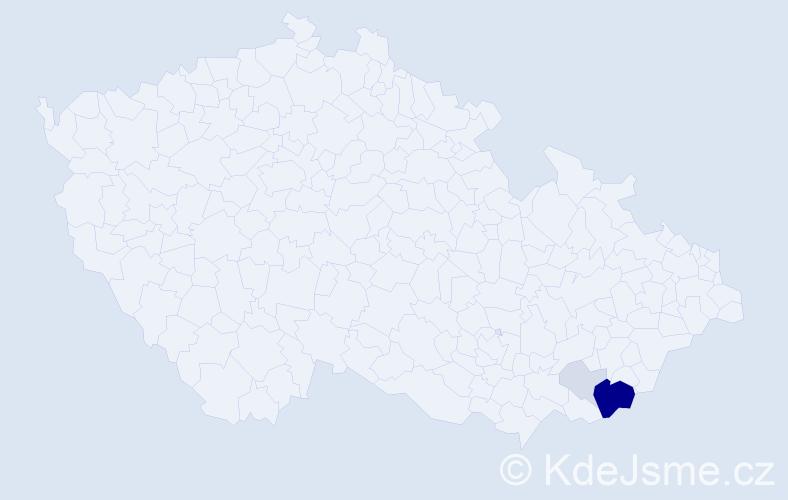 Příjmení: 'Kachníková', počet výskytů 13 v celé ČR