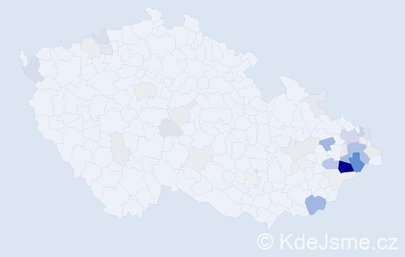 Příjmení: 'Děcká', počet výskytů 132 v celé ČR