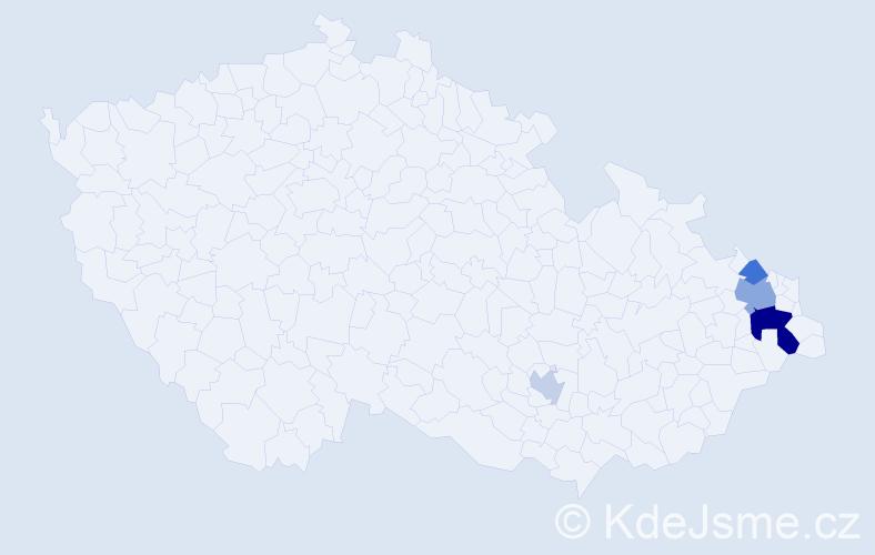 Příjmení: 'Aldersová', počet výskytů 8 v celé ČR
