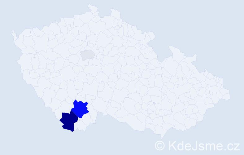 Příjmení: 'Klivandová', počet výskytů 7 v celé ČR