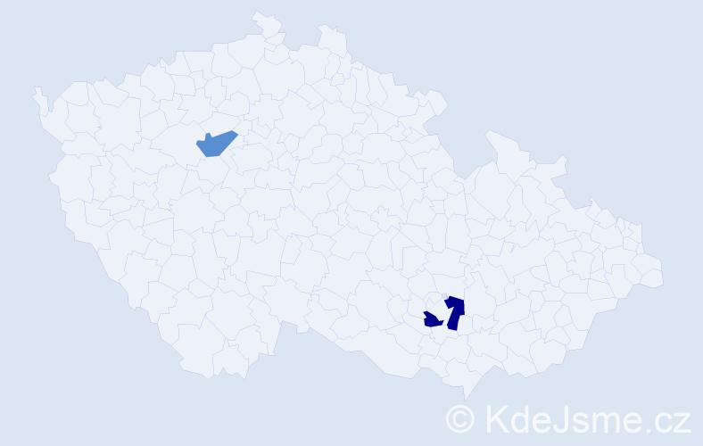 Příjmení: 'Inanç', počet výskytů 5 v celé ČR