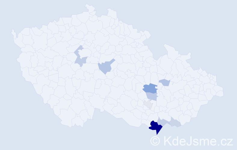 Příjmení: 'Čulenová', počet výskytů 37 v celé ČR