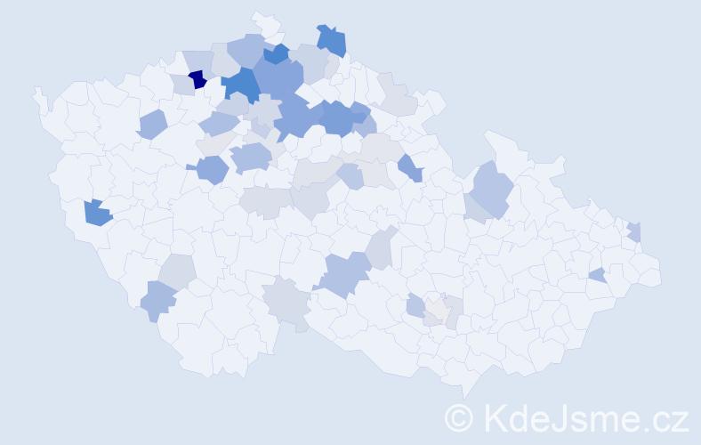 Příjmení: 'Lepšíková', počet výskytů 140 v celé ČR