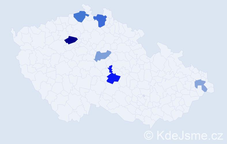 Příjmení: 'Bleho', počet výskytů 11 v celé ČR