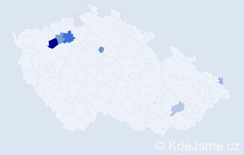 Příjmení: 'Imríšková', počet výskytů 20 v celé ČR