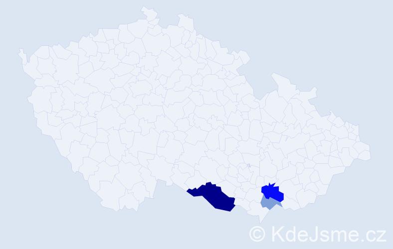 Příjmení: 'Dikovský', počet výskytů 16 v celé ČR