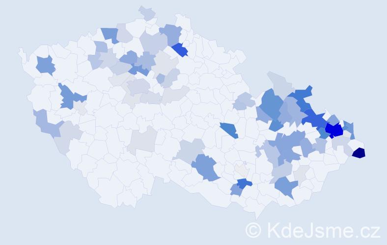 Příjmení: 'Hajduková', počet výskytů 254 v celé ČR
