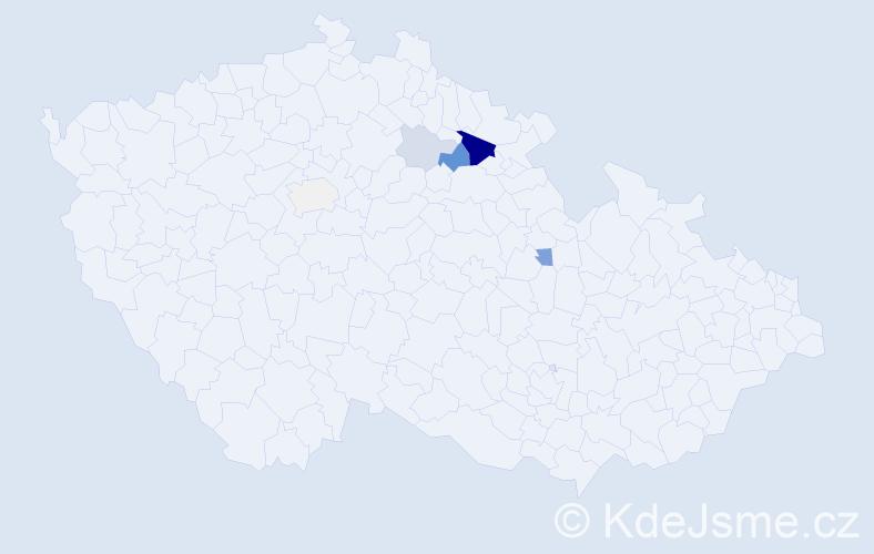 Příjmení: 'Krkonoška', počet výskytů 18 v celé ČR