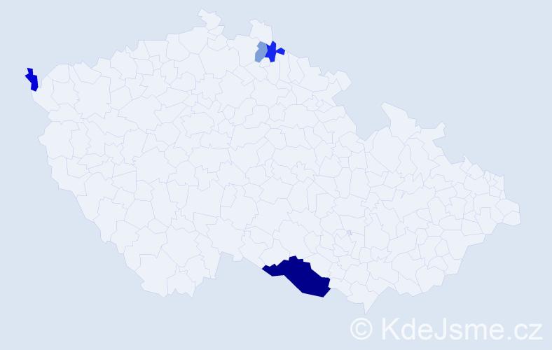 Příjmení: 'Čavinský', počet výskytů 8 v celé ČR