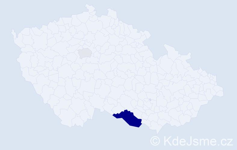 Příjmení: 'Čota', počet výskytů 5 v celé ČR