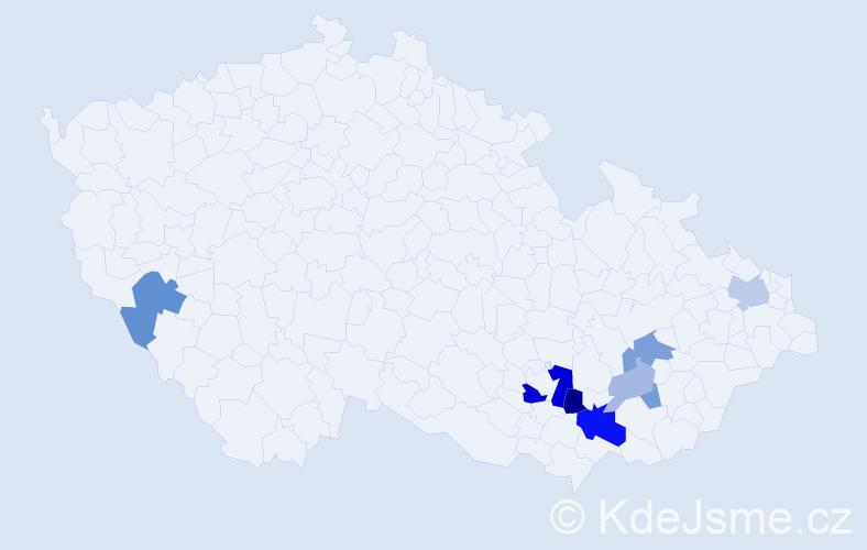 Příjmení: 'Gajárek', počet výskytů 19 v celé ČR