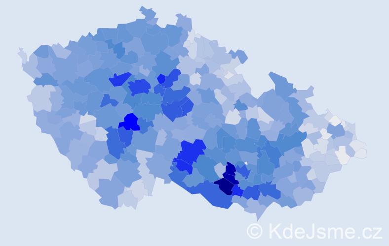 Příjmení: 'Procházka', počet výskytů 16089 v celé ČR