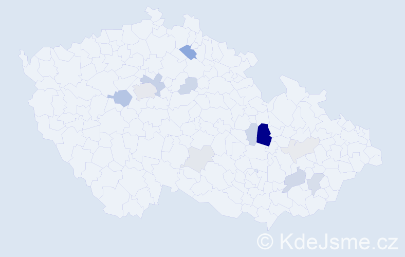 Příjmení: 'Bádal', počet výskytů 36 v celé ČR