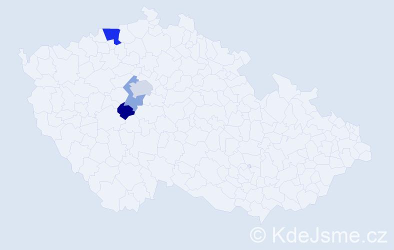 Příjmení: 'Bein', počet výskytů 7 v celé ČR