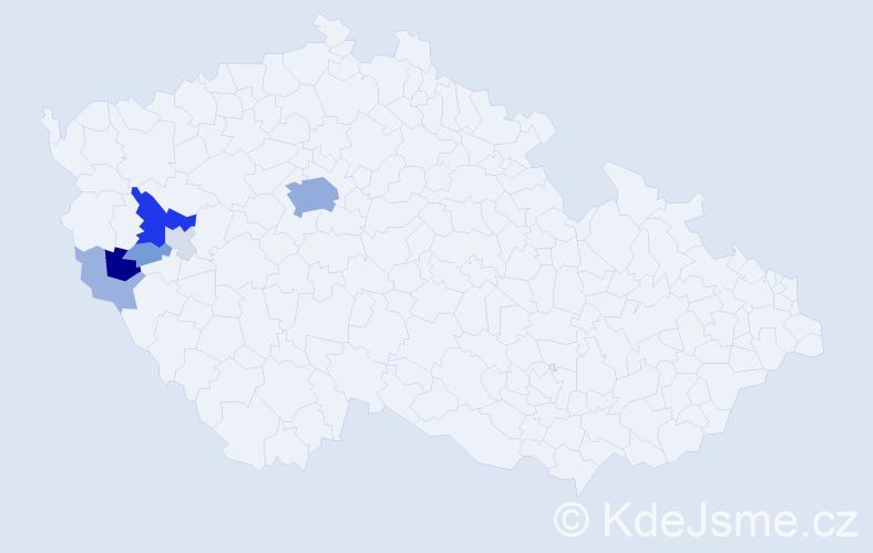 Příjmení: 'Brychcínová', počet výskytů 28 v celé ČR