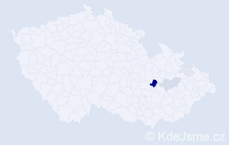 Příjmení: 'Hanos', počet výskytů 9 v celé ČR