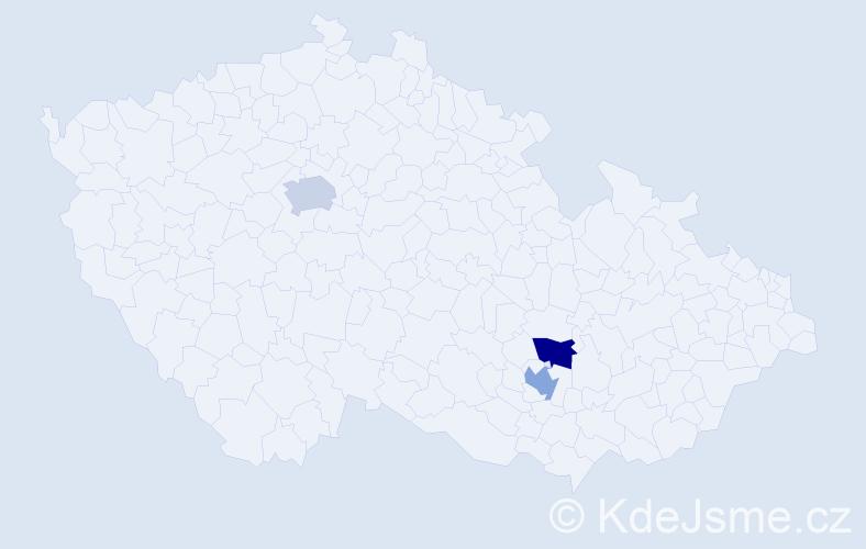 Příjmení: 'Dankovský', počet výskytů 3 v celé ČR