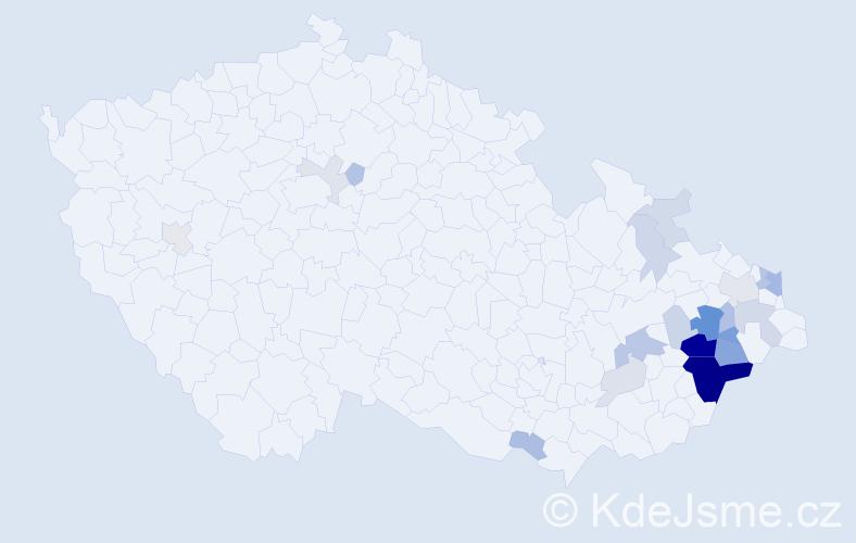 Příjmení: 'Krhovják', počet výskytů 74 v celé ČR