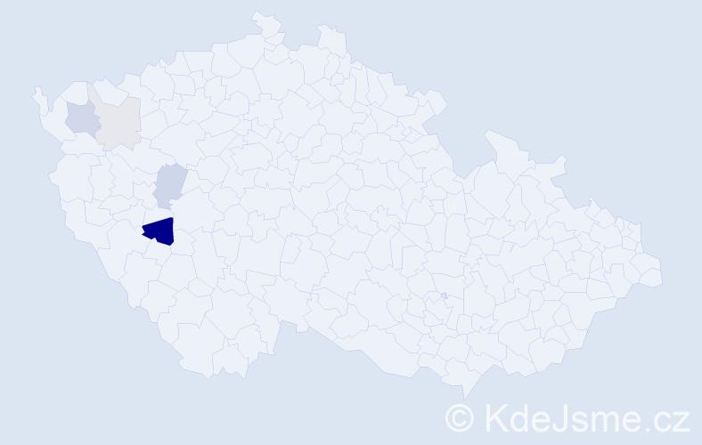 Příjmení: 'Jagulák', počet výskytů 13 v celé ČR
