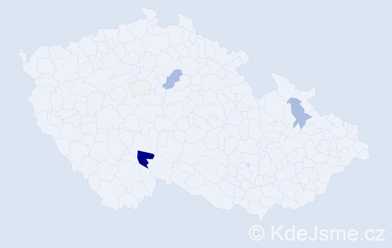 Příjmení: 'Dančišin', počet výskytů 7 v celé ČR