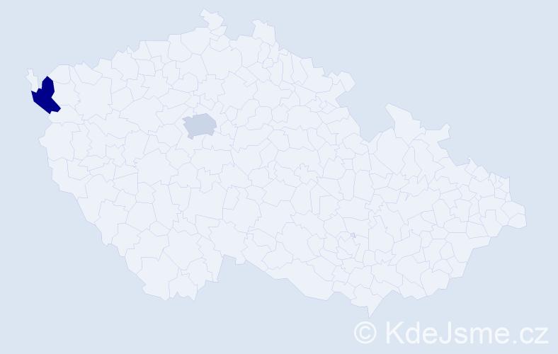 Příjmení: 'Dirlbecková', počet výskytů 8 v celé ČR