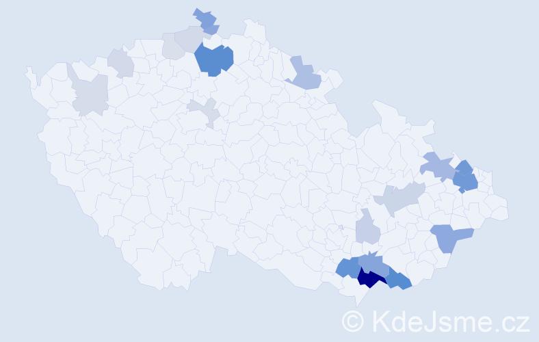 Příjmení: 'Gavlík', počet výskytů 68 v celé ČR