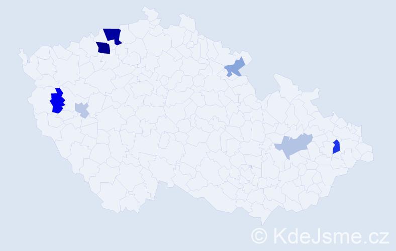 Příjmení: 'Lastovková', počet výskytů 17 v celé ČR