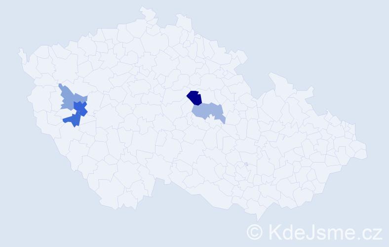 Příjmení: 'Abrešková', počet výskytů 11 v celé ČR