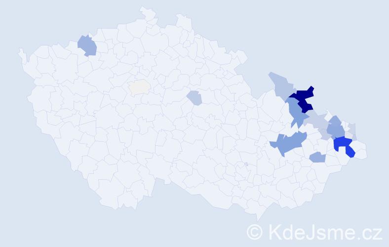 Příjmení: 'Bohačík', počet výskytů 94 v celé ČR