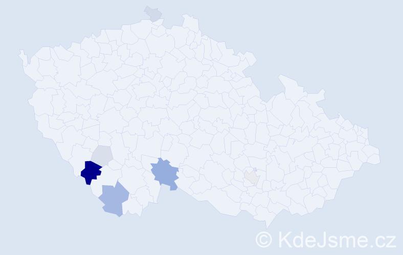 Příjmení: 'Chrstoš', počet výskytů 19 v celé ČR