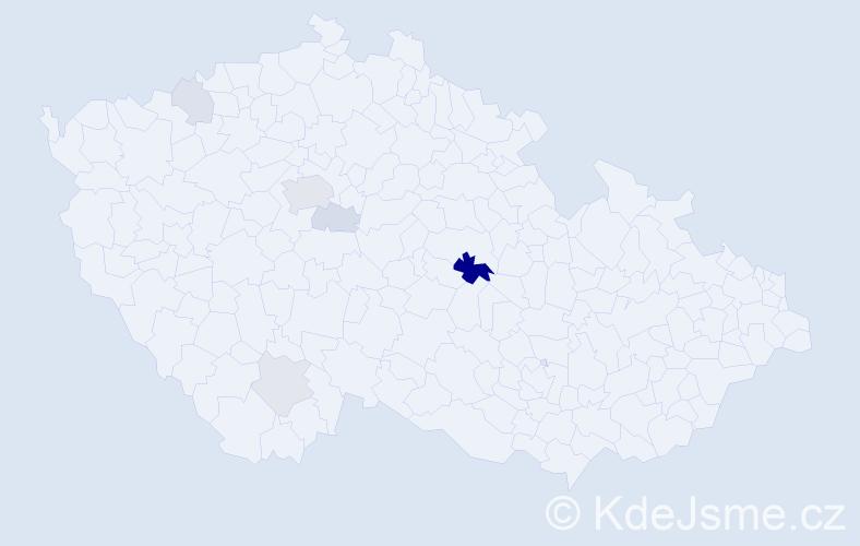 Příjmení: 'Kekula', počet výskytů 16 v celé ČR