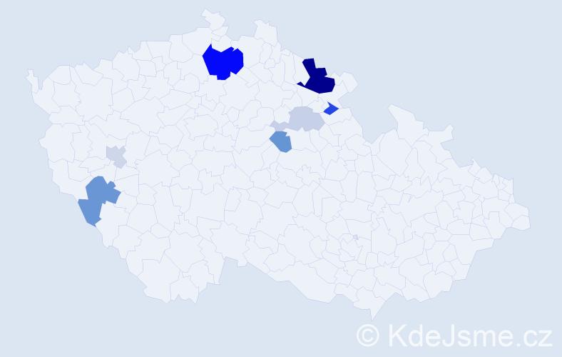 Příjmení: 'Kurtinec', počet výskytů 19 v celé ČR
