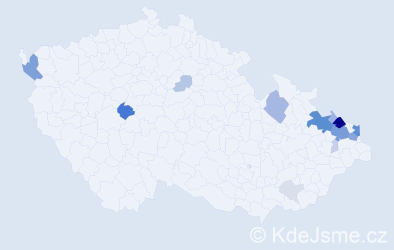 Příjmení: 'Gatnarová', počet výskytů 65 v celé ČR