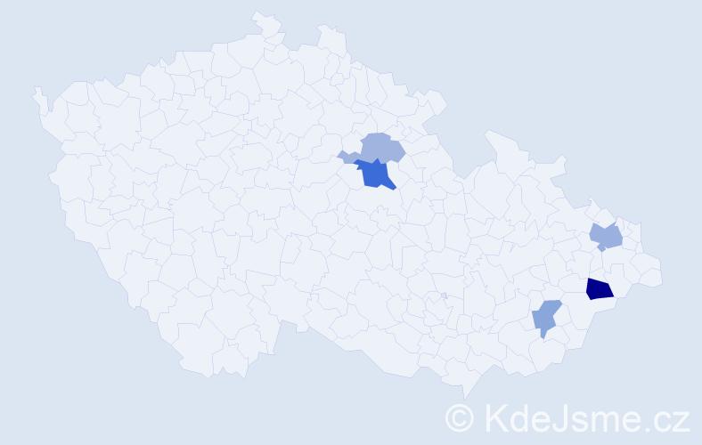 Příjmení: 'Čečko', počet výskytů 9 v celé ČR